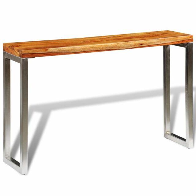 vidaXL Table Console bois sheesham solide avec pieds acier Brun pour entrée
