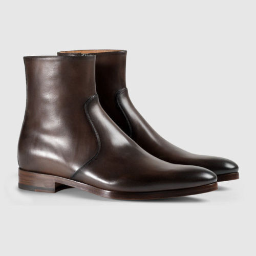 MEN HANDMADE BROWN PURE LEATHER ZIP UP CUSTOM MADE BOOTS FOR MEN