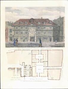 1820-LONDON-Blackwell-Hall-King-Street-Cheapside-amp-Street-Plan-80LI