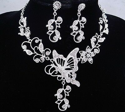 necklace set silver butterfly flower clear crystal rhodium p bridal wedding FIOJ