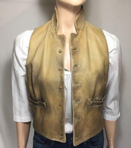 2 Vest Tan Leather Lauren Intentional Distress Purple Sz Ralph Collection Label xqUH4wEI