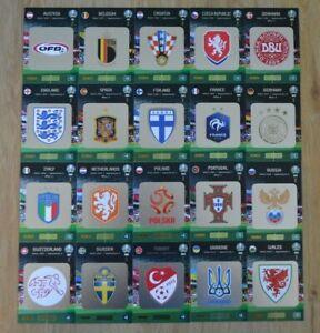 Panini-Adrenalyn-XL-Uefa-Euro-EM-2020-alle-20-Team-Logo-Karten-komplett-Wappen