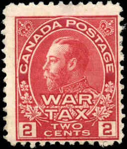 Mint-Canada-2c-1915-F-Scott-MR2-War-Tax-Stamp-Hinged