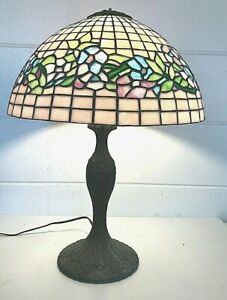 Antique-ART-NOUVEAU-Stained-Carnival-Glass-22-034-Table-Lamp-16-034-Shade-Leaded-SLAG