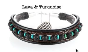 6B-210 Sterling Silver Turquoise Lava Stones /& Leather Armband Men Bracelet