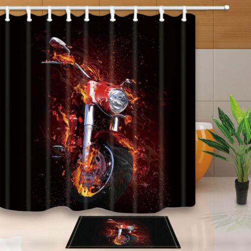 Creative Motorcycle Shower Curtain Bedroom Waterproof Fabric /& 12hooks 71*71in