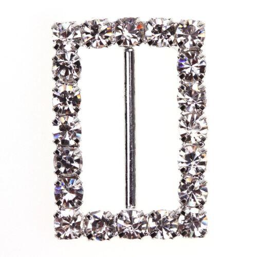 Rectangular Diamante Buckle Pack of 10