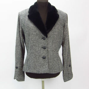 Collar Womens Quinn Black Andrea Faux White Blazer Tweed Candian 11 Size Fur CpPRTO