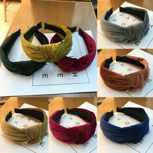 Women-Girl-Bowknot-Cross-Knot-Wide-Solid-Hairband-Boho-Headband-Accessory-HOT