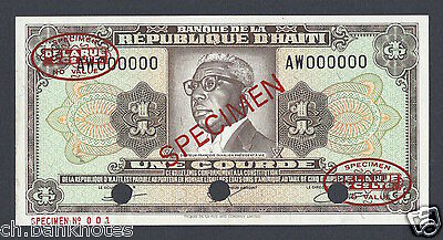 1984 P239s Specimen Tdlr N001 Uncirculated Can Be Repeatedly Remolded. Earnest Haiti One Gourde L.1979