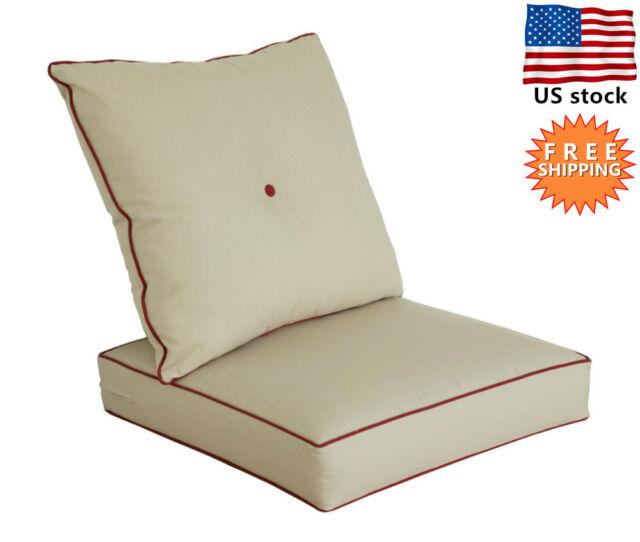 Bossima Outdoor Chair Cushions Patio Deep Seat High Back Pad Set Dining  Khaki