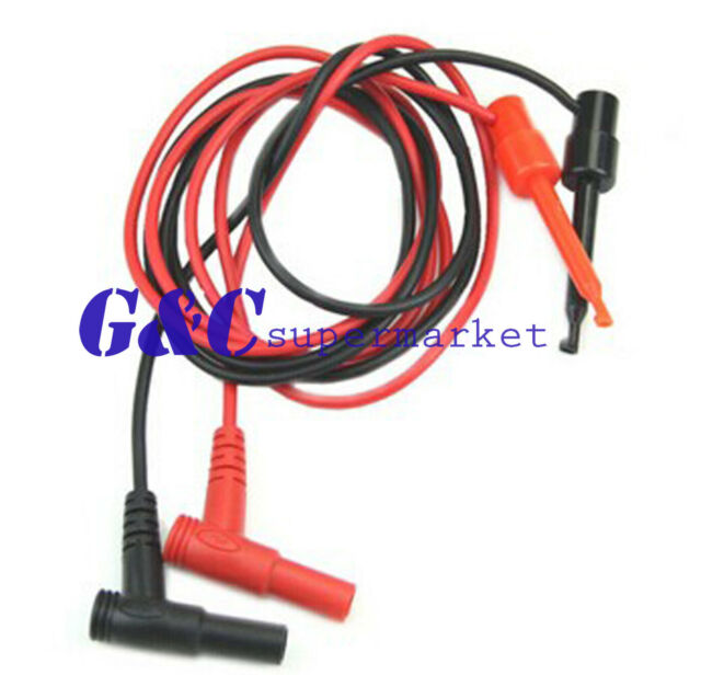 1Pair For Multimeter Test Equipment Banana Plug To Test Hook Clip Probe Cable