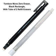 New Listingtombow Mono Zero Eraser Black Rectangle With Tube Of 2 Refill Erasers