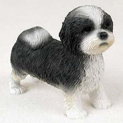 SHIH TZU (Black White Puppy Sport Cut) DOG Figurine Statue Hand Painted Resin