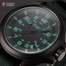 SHARK ARMY Sport Black Date Nylon Strap Analog Mens Military Quartz Wrist Watch