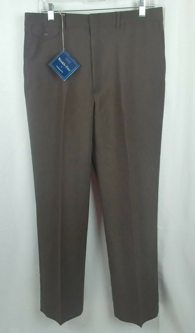 Vintage Haggar Men's Dress Pants Polyester Wool Blend Brown 34 W x 32 L NWT
