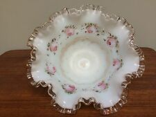 Cased White Glass Ruffled Edge Brides Basket Handpainted Pale Pink Roses Bowl