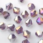 50pcs 6mm Bicone Faceted Crystal Glass Loose Spacer Beads Reddish Violet AB