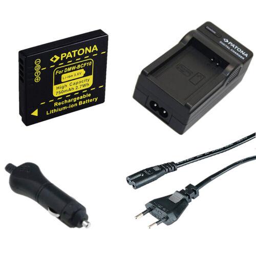 caricabatteria casa//auto per Panasonic Lumix DMC-F2,DMC-F3 Batteria Patona