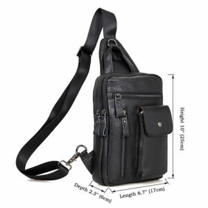 J.M.D Mens Real Leather Chest Bag Chic Crossbody One Shoulder Sling Bag Black