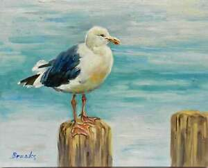 8x10-Seagull-on-Pier-Post-Original-Canvas-Oil-Painting-New-Wall-Art-Work