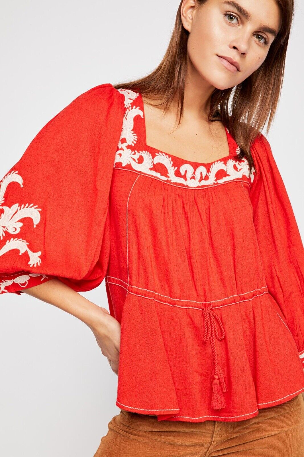 Free People Serenade Embroided Blouse Größe Small