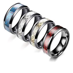 Size-6-13-Stainless-Steel-Titanium-Celtic-Dragon-Men-039-s-Rings-Wedding-Band