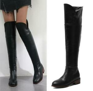 New-Womens-Thigh-High-Over-The-Knee-Boots-Flats-Low-Heel-Riding-Motorcycle-Shoes