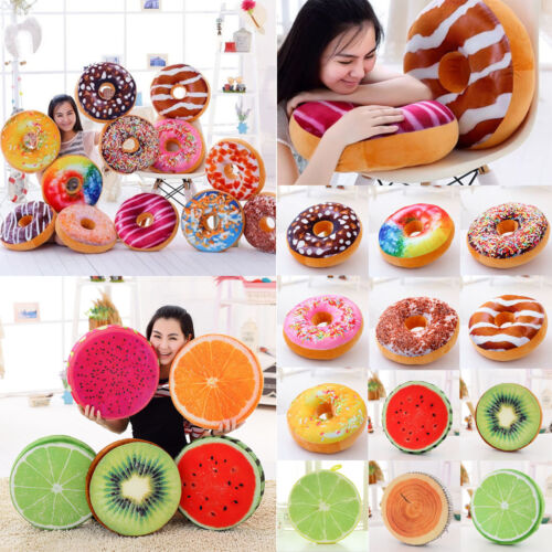 3D Plush Soft Warm Donut Fruit Food Pillow Chair Round Seat Pad Sofa Cushion UK