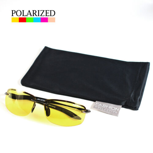 SPORT WRAP HD NIGHT DRIVING VISION SUNGLASSES YELLOW HIGH DEFINITION GLASSES M#