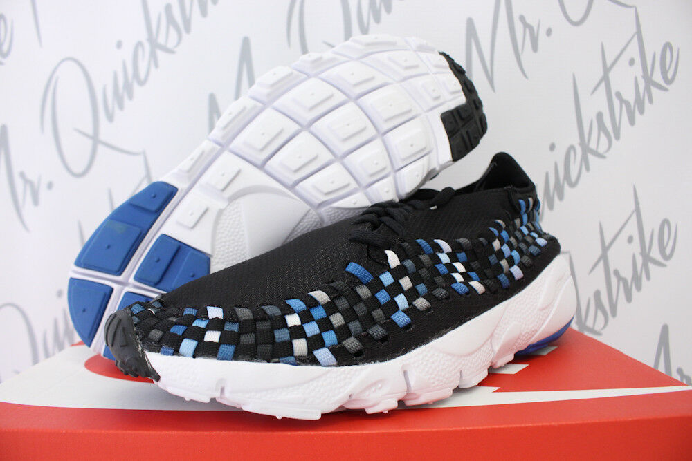 Nike air footscape tessuti nm sz 10 nero blue jay bianco 875797 005