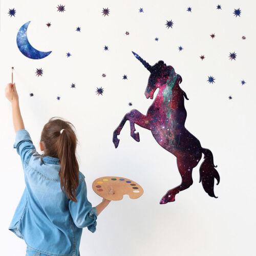 Stars Moon Unicorn Wall DIY Stickers Kids Boys Girls Bedroom Nursery Home Decor