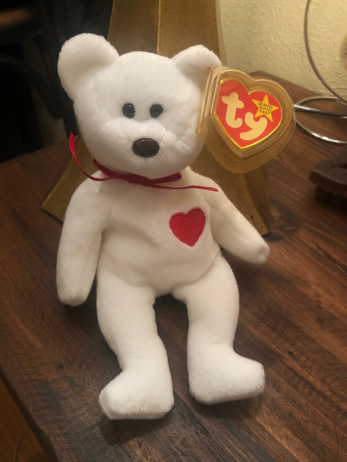 Valentino bear beanie baby TY with EVERY error RARE White star,brown nose,etc.