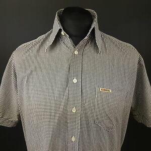 Diesel-Mens-Vintage-Shirt-MEDIUM-Short-Sleeve-Grey-Regular-Fit-Check-Cotton