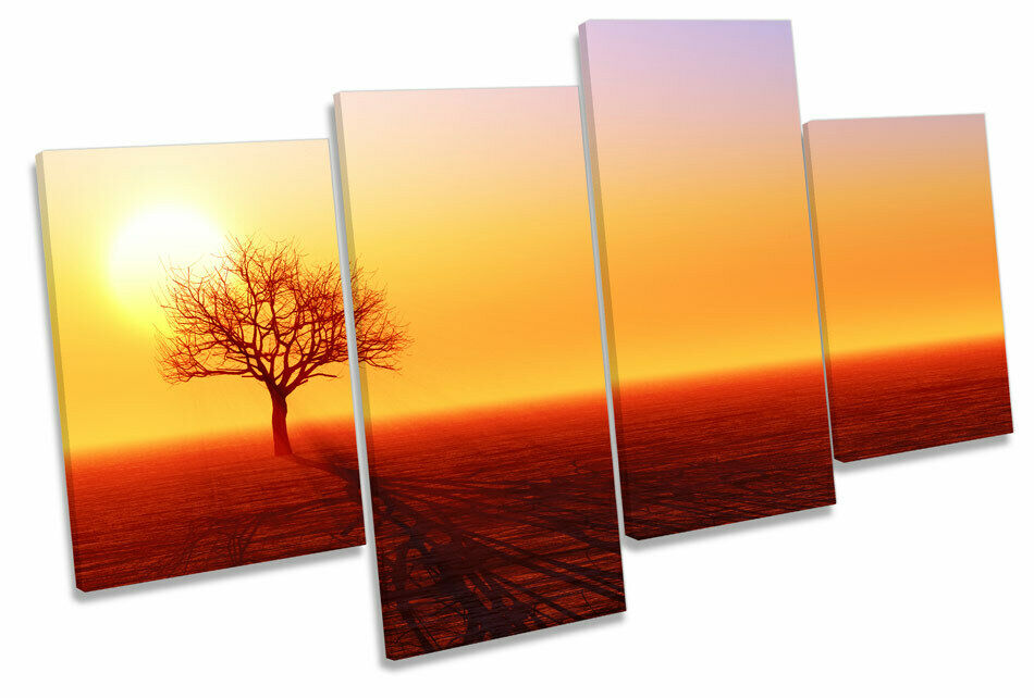 Tree Silhouette Sunset Landscape MULTI CANVAS Wand Kunst Drucken Bild