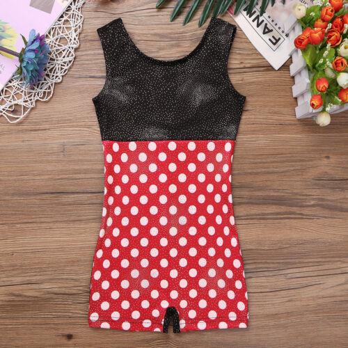 Girls Kids Gymnastics Ballet Leotard Jumpsuit Leopard Bodysuit Dancewear Costume