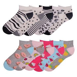 Ladies-5-Pack-Trainer-Liner-Socks-Womens-Socks-Stripes-Dots-Cotton-Rich-Size-4-8