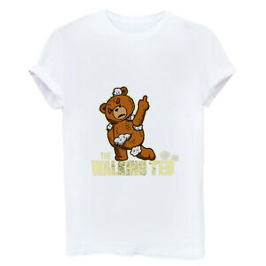 The-Walking-TED-Cute-Funny-Women-T-shirt-Short-Sleeve-Cotton-White-Tops-Tee