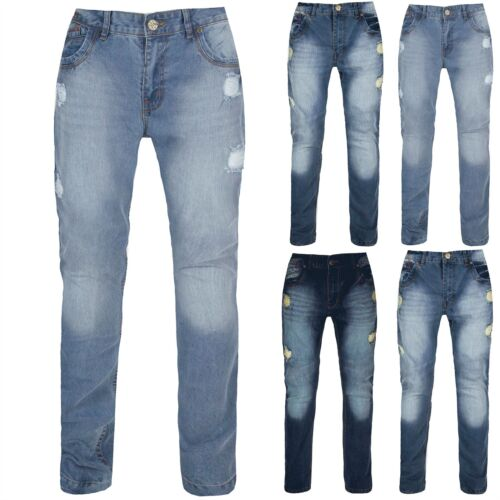 Mens Ripped Jeans Trousers Regular Fit Straight Leg Faded Distressed Denim Jeans
