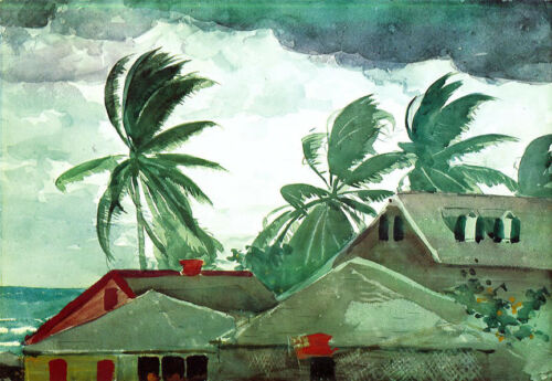 Hurricane Bahamas  by Winslow Homer  Paper Print Repro