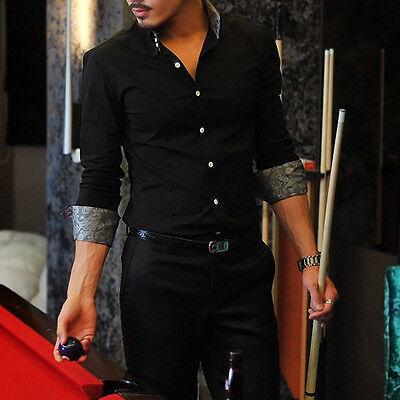 MT118 New Men's Luxury Casual Slim Fit Stylish Long sleeve Dress Shirts 5 Size
