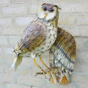 Metal-Garden-Owl-Wall-Decoration-Outdoor-Ornament-Bird-Sculpture-Mounted-Decor