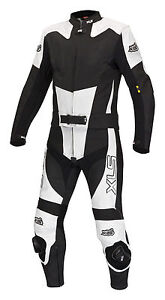 Neue-hochwertige-Lederkombi-Kurzgroesse-zweiteilig-schwarz-weiss-Leather-Suit