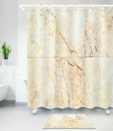 "Cream Marble Pattern Waterproof Fabric Bath Shower Curtain Hooks Mat Set 60//72/"""