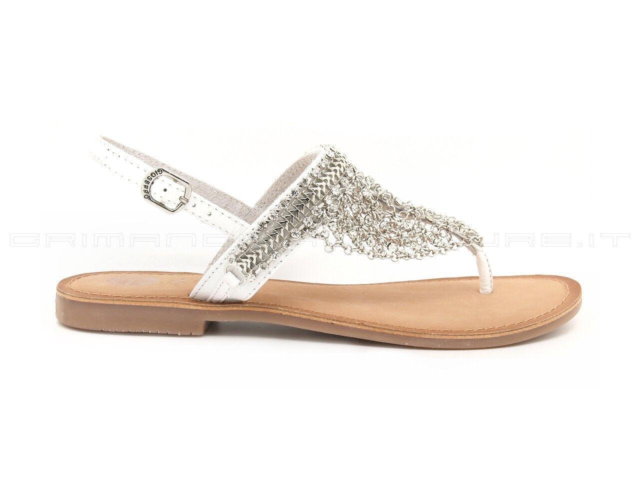 Gioseppo sandali infradito, tomaia pelle bianca con maglia metallica silver