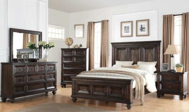 Contemporary Style Cal King Size Bed Light Oak Finish Bedroom Home Furniture 4pc For Sale Online Ebay