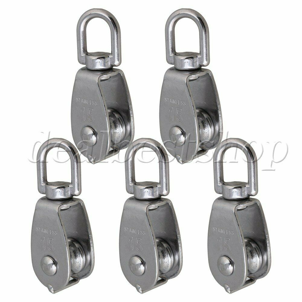 5 PCS M25 Stainless Steel 304 Swivel Snatch Fixed Single Pulley Block