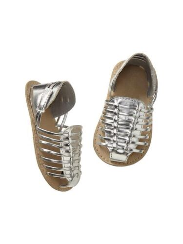 GAP Baby Girls Size 3-6 Months NWT Silver Metallic Gladiator Sandals Shoes Flats