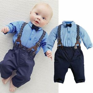 Image Is Loading Gentleman Infant Baby Boy Suspenders Outfit Set Dress