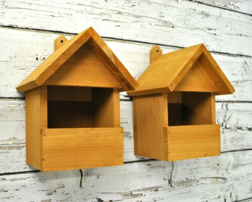 Set of 2 Large Wooden Robin Birdhouse Nest Boxes for Wild Garden Birds